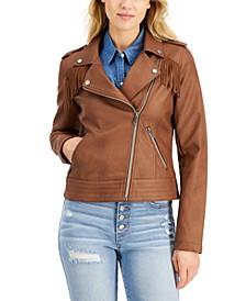Juniors' Faux-Leather Fringe Moto Jacket, Created for Macy's