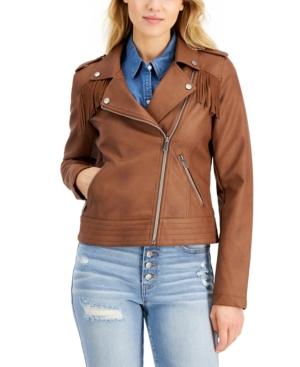 CoffeeShop Juniors' Faux-Leather Fringe Moto Jacket