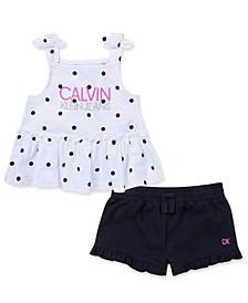 Toddler Girls Polka Dot Top and Shorts Set, 2 Piece