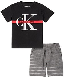 Little Boys Knit Crewneck with YD Stripe Short Set, 2 Piece
