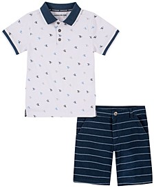 Little Boys Printed Knit Polo with YD Stripe Short Set, 2 Piece