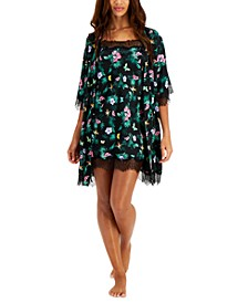 Lace-Trim Tropical-Print Wrap Robe, Created for Macy's