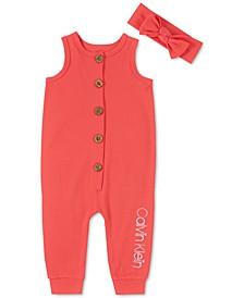 Baby Girls 2-Pc. Cotton Ribbed Coverall & Headband Set