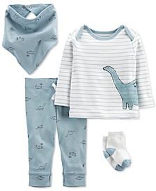 Baby Boys Four-Piece Dinosaur Outfit Set