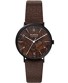 Men's Aaren Naturals Brown Mulberry Leather Alternative Strap Watch, 40mm