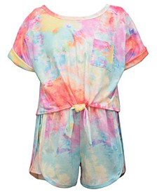 Big Girls Short Sleeved Tie Dye Knit Top and Short Set, 2 Piece