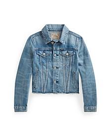 Big Girls Cropped Denim Trucker Jacket