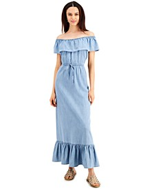 Petite Cotton Chambray Off-The-Shoulder Maxi Dress, Created for Macy's