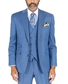 Men's Blue Solid Classic-Fit Wool Suit Separate Jacket