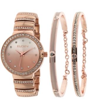 Women's 3 Piece Rose Gold-Tone Strap Watch and Bracelet Set