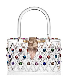 """""""The Queen"""" Rainbow Colorful Crystal Lucite Box Clutch Bag"""
