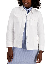 Solid Button-Front Twill Jacket, Created for Macy's