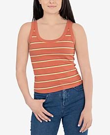 Juniors' Striped Rib-Knit Tank Top