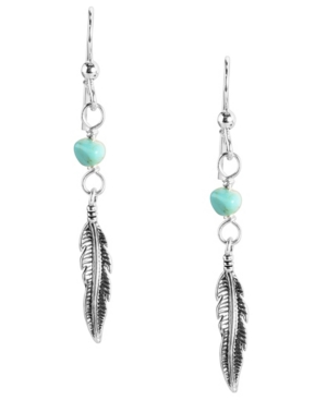 by Carolyn Pollack Sterling Silver and Turquoise Feather Dangle Earring