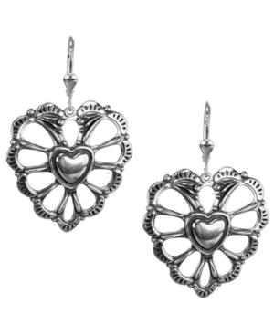 by Carolyn Pollack Concha Style Heart Dangle Earrings in Sterling Silver