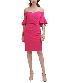 Off-the-Shoulder Ruffled-Cuff Dress