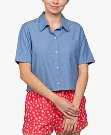 Juniors' High-Low Chambray Shirt