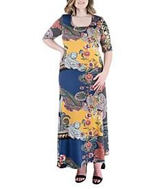 Plus Size Paisley Elbow Sleeve Maxi Dress