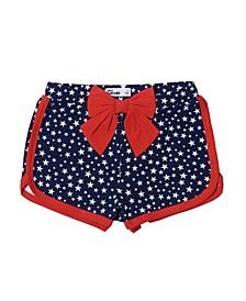 Little Girls Americana All Over Print Shortie Shorts