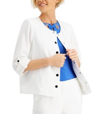 Roll-Sleeve Crepe Jacket