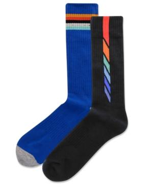 Men's 2-Pk. Dashed Vertical Stripe Half Cushion Crew Socks