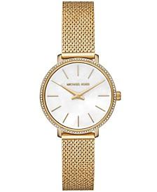 Women's Pyper Gold-Tone Stainless Steel Crystal Mesh Bracelet Watch 32mm