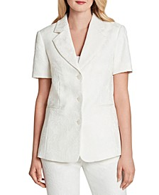 Jacquard Short-Sleeve Blazer