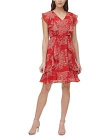 Ruffled Paisley Chiffon Dress