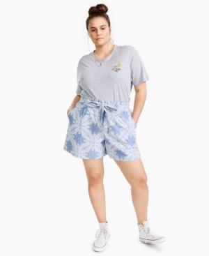 Plus Trendy Cotton Paperbag-Waist Shorts