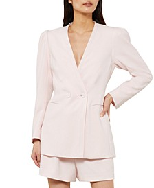 Double-Breasted Button-Front Blazer
