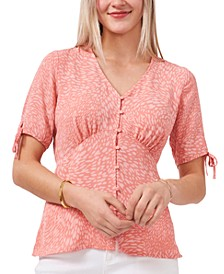Printed V-Neck Button-Front Blouse