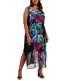 Plus Size Palm-Print Maxi Dress