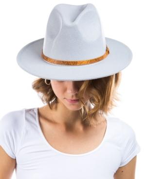 Women's Vegan Leather Band Wool Blend Felt Hat