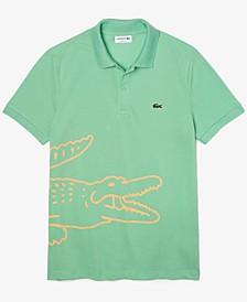 Men's Regular Fit Crocodile Print Cotton Pique Polo Shirt