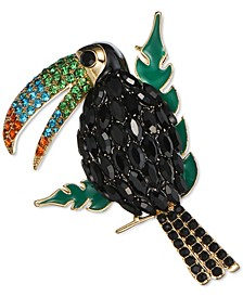 Gold-Tone Multicolor Crystal Toucan Pin, Created for Macy's