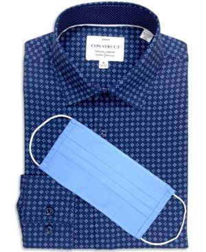 Con. Struct Men's Slim-Fit Performance Stretch Quad Diamond Print Dress Shirt