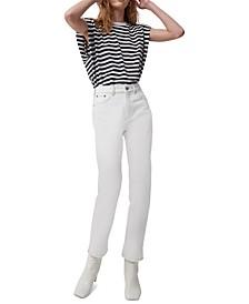 Cotton Striped Shoulder-Pad Top