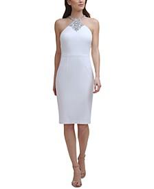 Embellished Halter-Neck Sheath Dress