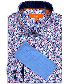Men's Slim-Fit Performance Stretch Rose Sketch Print Dress Shirt and Free Face Mask