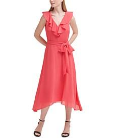 Petite Ruffled Midi Dress