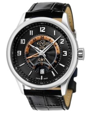 Men's Giromondo Swiss Quartz Black Leather Strap Watch 42mm