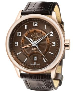 Men's Giromondo Swiss Quartz Brown Leather Strap Watch 42mm