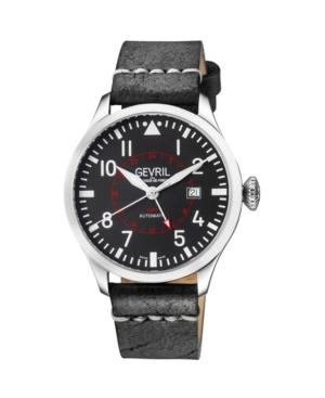 Men's Vaughn Swiss Automatic Black Italian Leather Strap Watch 44mm