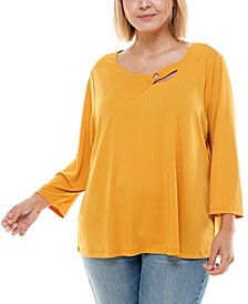 Plus Size 3/4 Sleeve Asymetric Top