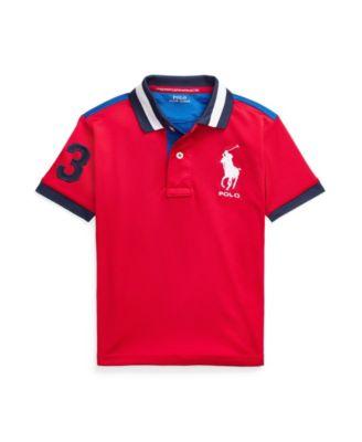 폴로 랄프로렌 Polo Ralph Lauren Little Boys Performance Stretch Mesh Polo Shirt,Rl 2000 Red