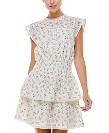 Floral Eyelet Tiered Mini Dress