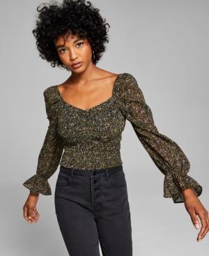 Women's Dot-Print Smocked-Waist Top