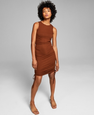 Women's Ribbed Side-Ruched Dress