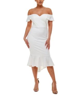Juniors' Off-The-Shoulder Ruffled Dress