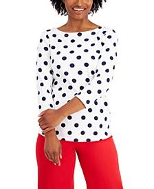 Petite Polka-Dot Top, Created for Macy's